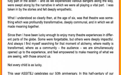 Día Mundial del Teatro para la Infancia y la Juventud